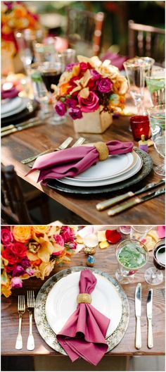 Outdoor wedding reception place setting, gold flatware, purple napkins, silver chargers, vibrant floral centerpieces, gold-rimmed glasses, magenta roses // Sera Petras Photography