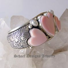 David Troutman Jewelry   Pink conch shell, white freshwater pearls, & sterling silver hearts cuff bracelet   upscale online turquoise, southwestern, native american, equine, & gemstone jewelry gallery boutique  Schaef Designs artisan handcrafted Jewelry   San Diego CA
