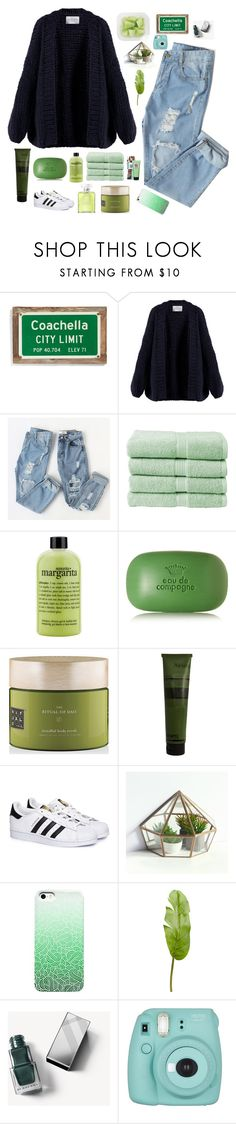 """""""green day"""" by maria143sara ❤ liked on Polyvore featuring Poncho & Goldstein, I Love Mr. Mittens, Christy, philosophy, Sisley, Rituals, Aesop, adidas, Pier 1 Imports and Burberry"""