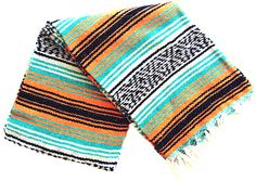 This is an authentic Mexican blanket in bright neon colors... perfect for the beach, picnic or as a bright home accent.Blanket colors: Turquoise, Neon Orange, Black