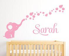 Personalisierte Namen Wall Decal Elefant  von PinkiePeguinShop