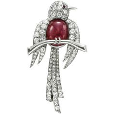 Pre-owned Van Cleef & Arpels Ruby and Diamond 'Bird' Brooch ($45,000) ❤ liked on Polyvore featuring jewelry, brooches, van cleef & arpels, bird jewelry, ruby jewellery, ruby jewelry e preowned jewelry