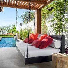 Indoor/Outdoor Swing: The Peninsula Swing Bed image 0 Swing Design, Patio Design, Bed Design, House Design, Design Studio, Design Bedroom, Home Swing, Outdoor Spaces, Outdoor Decor