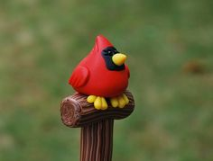 Polymer Clay Cardinal Pen by handmademom on Etsy, $9.99