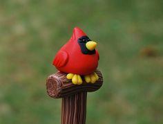Polymer Clay Cardinal Pen por handmademom en Etsy, $9.99