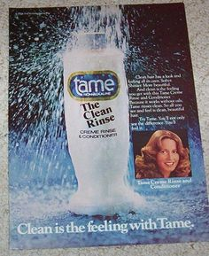 1978 print ad -  Gillette Tame Creme Rinse Cute girl hair vintage ADVERT Page #Tame #Advertisement