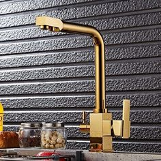 Get Offer FHLYCF Kitchen faucet, golden kitchen water purifier, hot and cold faucet, tyrant gold direct drinking water, rotatable double outlet water tank faucet Brass Kitchen Faucet, Kitchen Taps, Kitchen Handles, Kitchen Mixer, Buy Kitchen, Kitchen Decor, Eclectic Kitchen, Stylish Kitchen, Water Faucet