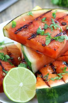 Cilantro-Lime Grilled Watermelon. Bring a new flavor to your summer barbecue for dessert! #July4th