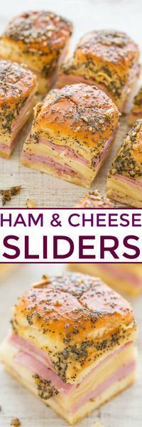 Xmas day lunch? Ham and Cheese Sliders - Baked juicy ham and Swiss nestled in soft Hawaiian rolls and brushed with a buttery Dijon, onion, and poppy seed topping!! Fast, EASY, and a party FAVORITE!!