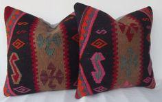 Black Kilim Pillow Cover SET Handwoven Turkish Kilim by Sheepsroad, $119.00