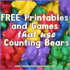 FREE Printables and Games that Use Counting Bears