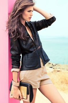 Cutout black blazer & neutral short pants  | Escada Spring Summer 2013 #Fashion Ad Campaign