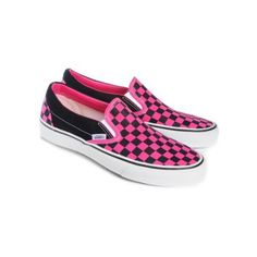 Pink and black, checkerboard Vans