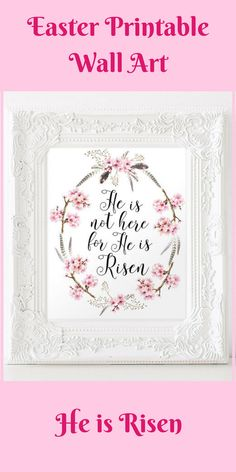 He Is Not Here For He Is Risen - Easter Home Decor - Watercolor Floral Wreath - Bible Verse Printable - Christian home decor - Scripture wall art - 8x10' digital print - Instant download  #ad  #easter  #printable  #printableart  #etsy