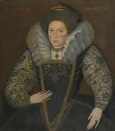 English School, 1599 PORTRAIT OF A LADY, HALF-LENGTH, IN AN EMBROIDERED DRESS