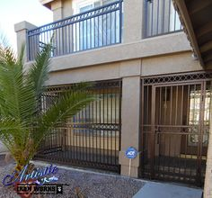 Wrought iron entry gate with matching porch enclosure and railings Porch Enclosures, Grand Entryway, Wrought Iron Gates, Entry Gates, Iron Work, Front Entry, Plans, Iron Railings, Backyard