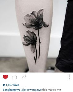 Black and gray flower tattoo by @joicewang.nyc