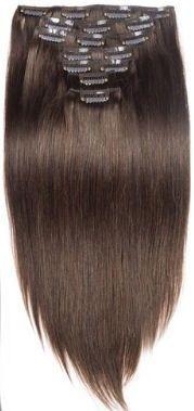 Clip in hair extension set bruin #4 / 120 gram / 50 cm