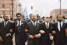 Selma-Montgomery March: Martin Luther King leading march from Selma to Montgomery to protest lack of voting rights for African Americans. Beside King is US Congressman John Lewis, Reverend Jesse Douglas, James Forman and Ralph Abernathy. March 1965.