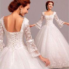 2015-New-White-Wedding-Dresses-with-3-4-Sleeves-Custom-Size-6-8-10-12-14-16-18