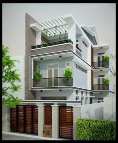 Nhà phố 3 tầng đẹp 6.5x17m mái lệch mang dáng dấp và hình thái kiến trúc đương đại Việt Nam rất mạnh mẽ, đáp ứng  nguyện vọng về một chốn an cư hiện đại, thanh lịch…