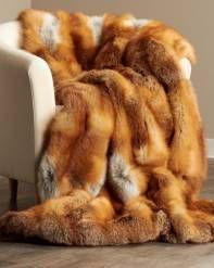 Full Pelt Red Fox Fur Blanket #cuddleup #luxury