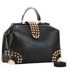 Gothic Black Gold Studded Doctor Style Top Handle Office Tote Bowler Handbag Satchel Purse Shoulder Bag