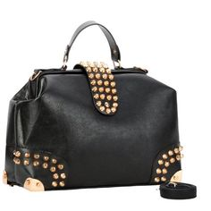 MG Collection DARKO Black Gothic Gold Studded Doctor Style Office Tote Purse