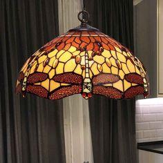 Lámpara de techo Belle Amber Tiffany