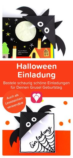 Superschnelle DIY Halloween Einladung 👻   Mit dieser coolen Halloween #Einladung hast Du nicht nur eine gruselige Einladung sondern auch ein #Fledermaus Lesezeichen für die Kleinen! Zum Falten brauchst Du nichts weiter als ein DinA4 Papier. Die einfache  #Bastelanleitung findest Du auf unserem #Blog.   Viel Spaß beim Basteln!  Dein balloonas Team   #halloweenparty #halloween #balloonas #bastelnmitkindern #herbst #lesezeichen #halloweeneinladung #balloonas #diy #papier #kinder #bastelidee Halloween Party Kinder, Diy Papier, Au Pair, Cards, Fall, Autumn, Fall Season, Maps