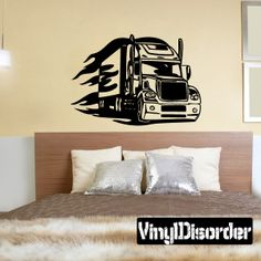 Semi Truck Wall Decal - Vinyl Decal - Car Decal - DC 050