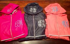 Monogrammed rain jackets for children and adults!  @wee3busybees