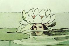 'Dronning Vannlilje' - Queen Water Lily by Elsa Beskow Elsa Beskow, Art And Illustration, Lilies Drawing, Merfolk, Water Lilies, Art Inspo, Les Oeuvres, Illustrators, Fantasy Art