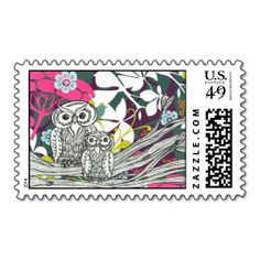 Owls postage Stamps. I love this design! It is available for customization or ready to buy as is. All you need is to add your business info to this template then place the order. It will ship within 24 hours. Just click the image to make your own!