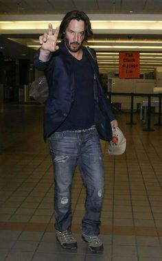 Keanu Reeves he's crushing your head. Quit hounding him!