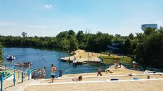 Welcome to Centennial Quarry! This deep-water, spring-fed swimming hole is a hidden gem for visitors and a best kept secret for locals. Erie Beach, Ocean Beach, Quarry Lake, Sand Volleyball Court, Hidden Beach, Local Attractions, Swimming Holes, Water Slides, Rafting