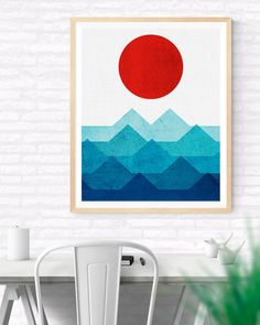 Geometric Sea and Sun Printable, Geometric Art, Geometric Scenery, Geometric art, Colorful Geometrical art, Living Room Art, Geometric Print
