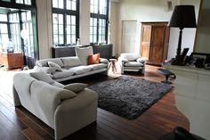 Cassina Maralunga herstoffering in wit geschakeerde meubelstof