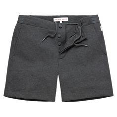 ALUSKY.  Dark Grey Melange Pique Cotton Sweat Short - Orlebar Brown. Gym wear. Sweats. Shorts.  Workout wear. Gym clothes. lounge wear.