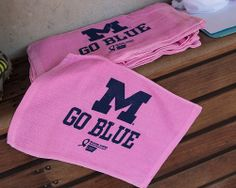 Pink Rally Towels distributed to fans at the Michigan Softball Pick Game #PinToWin #BeatOhio