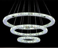 Aliexpress.com : Buy Hanging Round Ring Crystal Chandelier Fixture, Modern Ceiling LED Light for Loft, Living Room, Hotel Hall Shop 110V~240V 220V from Reliable light led bulb suppliers on Shenzhen M-Home Co. Ltd | Alibaba Group HOME DECOR DECORATION