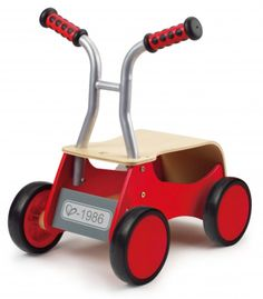This wooden rider transforms from a balanced walker to a foot-powered ride-on and helps little ones get mobile. First walk, then ride, the little rider accommodates a variety of learning and developmental stages. There is even enough room to cart around treasured toy friends. The solid design and smooth rubber wheels make it great for indoor use. - Available at: http://www.goodtoplay.com