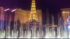 View of the fountains from Bellagio restaurant