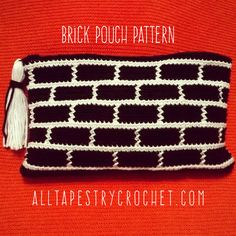 Brick Pouch Pattern - free crochet pattern with chart by Rebecca Medina at All Tapestry Crochet.                                                                                                                                                                                 More