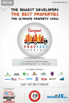 What are your weekend plans? Hello everybody! So, what are you all going to do this weekend?  Visit Gurgaon PROPFEST 2012  Venue: Epicentre, Sector-44, Gurgaon  Date: 5th & 6th May 2012  Time: 10am -7pm  Participants: Jaypee Group, Wave Infratech, DLF, Supertech, Unitech, The 3c company, Raheja Developers, Ajnara to name a few. To Do This Weekend, Weekend Plans, Delhi Ncr, 3c, Wave, Group, How To Plan, Projects, Log Projects