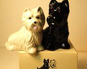 Salt and Pepper black and white scotch  whiskey dog shakers SCOTTIE Terrier and WEST Highlands White terrier RARE and vintage with box