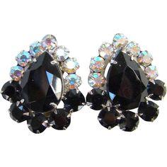Juliana Black Rhinestone Clip Earrings Aurora Borealis DeLizza Elster Costume Jewelry