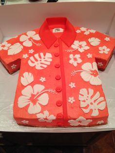 Done by Kupcake Kerrys - buttercream Hawaiian shirt cake with fondant decorations https://www.facebook.com/kupcakekerrys