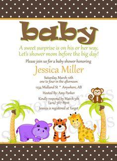 Jungle Animal Friends Custom Unisex Baby Shower by silverscraps, $15.00