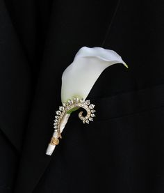 Calla Lily Gold Broach Boutonniere. Champagne Brooch Calla Lily Boutonniere on Etsy, $30.00